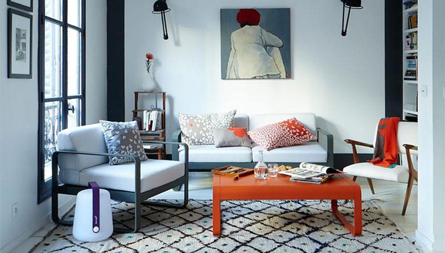 FERMOB Bellevie Lounge canapé fauteuil table basse coussins trèfle