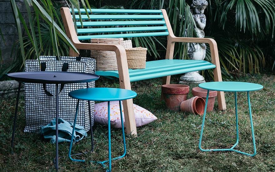 Banc de jardin SOMERSET alu et teck en bleu lagune COCOTTE Fermob