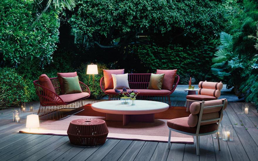 Canapé de jardin Cala Estar fauteuil Roll table basse Boma pouf Kettal
