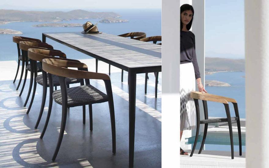 Table repas u-nit aluminium plateau céramique fauteuil repas Jive Royal Botania