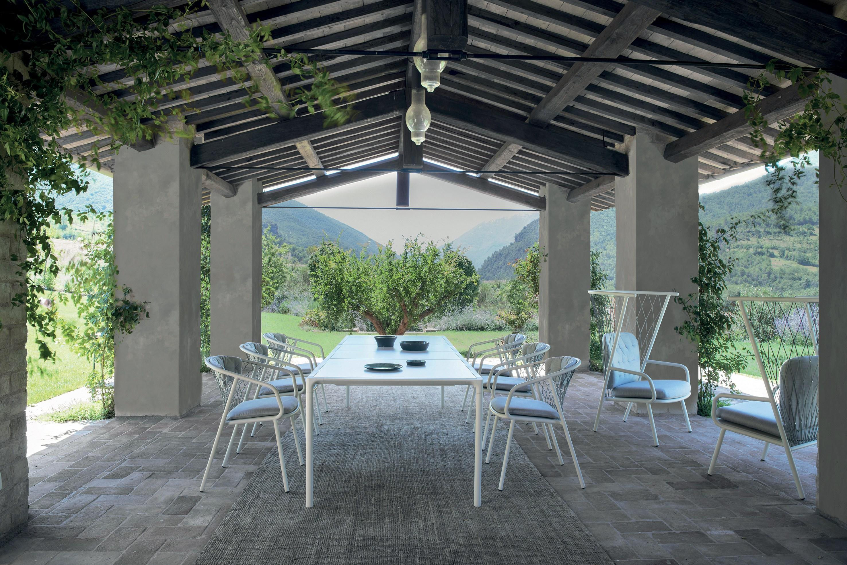 chaises de jardin en aluminium et cordes avec accoudoirs nef Emu