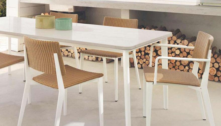 Chaise fauteuil table marbre aluminium Riba