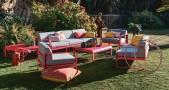 Canapé et table basse fauteuil en aluminium BELLEVIE en rose praline Fermob
